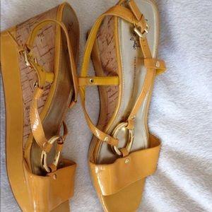 Franco Sarto Shoes - Franco Sarto Glare Yellow Wedge Sling Back 4d3bcde4a6